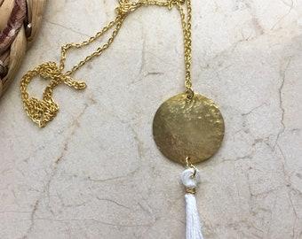 Golden Brass & White Tassell Necklace. Hammered. Long. Lightweight.