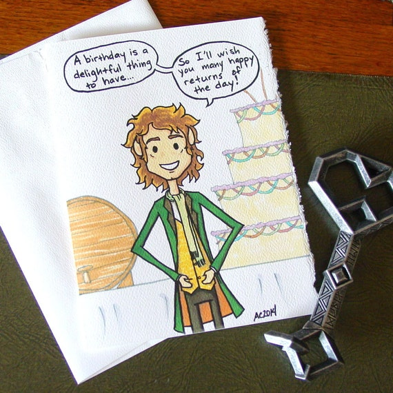 Hobbit Birthday Card Bilbo Baggins Many Happy Returns
