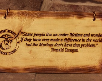 US Marines Inspirational Reagan Quote Wood Sign