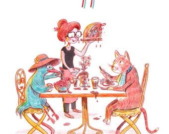 Printable Art, Bon Appetit, Kitchen Print, Printable Illustration, Print Art, Printable Wall Art, Funny Gifts, Bithday Gift, Dining Room