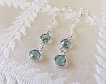 Silver Wavy Line & Aqua Drop Earrings, SE-146