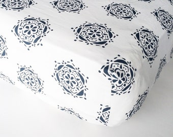 Boho Baby Bedding / Fitted Crib Sheets / Mini Crib Sheets / Changing Pad Cover /Neutral Baby Bedding /Bloom Alma Mini  /Navy Baby Bedding