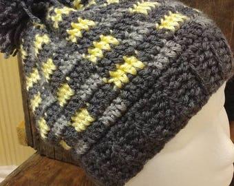 Slouchy crochet checkered pom pom beanie