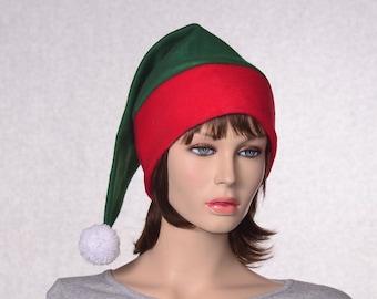 Green Red Stocking Cap  Red Headband White Pompom Christmas Elf Hat Green Santa Hat