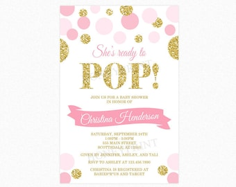 She's Ready to Pop Baby Shower Invitation, Pink, Gold Glitter, Polka Dots, Girl, Personalized, Printable and Printed