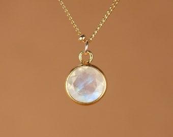 Moonstone necklace - gold moonstone - june birthstone - a 22k gold bezel set rainbow moonstone on a 14k gold filled satellite chain