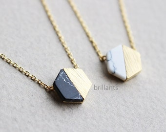 Free Gift Wrapping, Hexagon necklace, White stone, Black stone, Geometric necklace, Howlite necklace, marble stone necklace, Bridesmaid gift