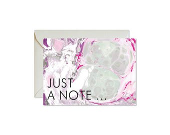 JUST A NOTE Purple + Grey Marble Notecards + Envelopes Pack | Boxed Set (8) | Abstract | Modern | Fresh