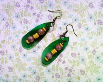 Purple, Yellow and Green Ethnic Earrings (1562)