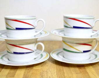 Vintage Inter-National Fine China Japan Cappuccino Cups and Saucers Primary Colors Midcentury Style Design: Set of 4