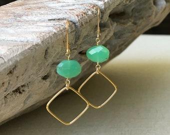 Chrysoprase Dangle Earrings in Gold or Silver