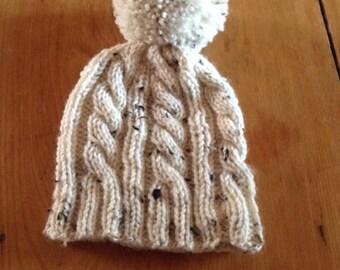 Handknit Cream Tweed Cabled Hat