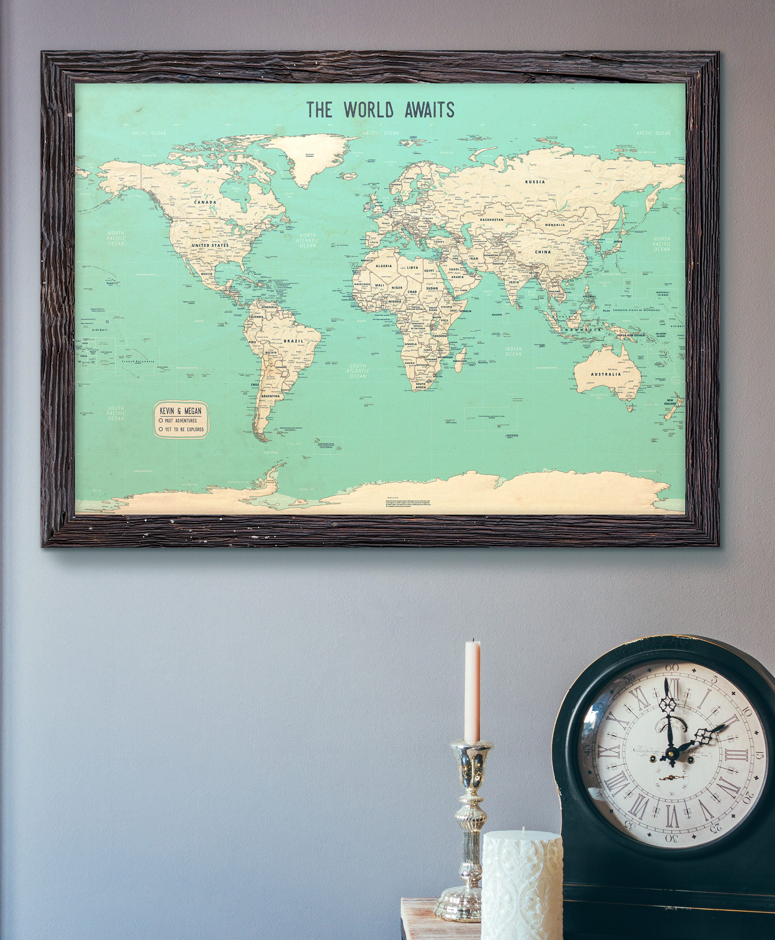 Push pin map teal world map 24x36 customizable pin zoom gumiabroncs