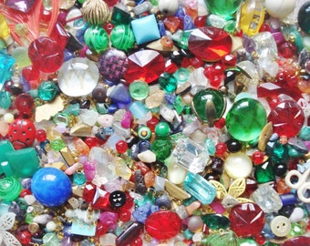 Bead Soup - 10 Ounces Czech Glass and Plastic Beads and Cabochons - Vintage Bead Blowout - Assorted Bead Grab Bag