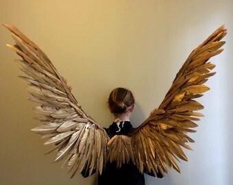 Gold Maleficent Angel costume Cosplay Fairy bird Wings