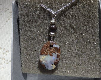 "Boulder Opal Necklace "" Ice Crystals ""  11 Carats , Natural Australian Boulder Opal , Sterling Silver Chain"