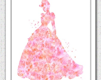 Cinderella Digital Download, Disney princess, princess painting, princess watercolor print, coral pink princess, pink Cinderella silhouette