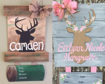 Personalized Handpainted Deer Hospital Door Hanger