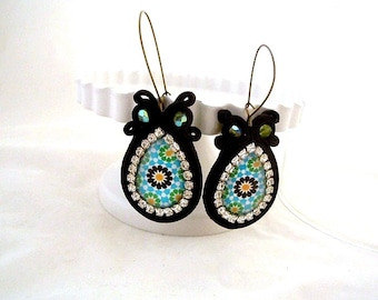 long drop dangle bead embroidered earrings , Portuguese mosaic glass hoop earrings , daughter in law gift , Alhambra mosaic jewelry