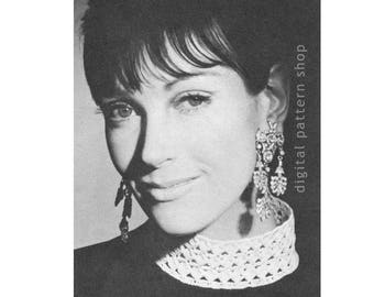 1960s Vintage Collar Crochet Pattern Delicate Ring Collar Pattern Lacy Stand Up Collar Womens Accessory Digital Download PDF - C06