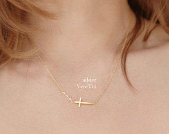 Minimal Sideways Gold Dainty Cross Necklace