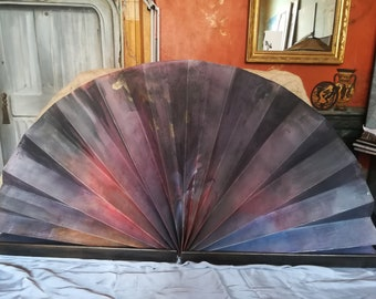 Fan for furniture in paper and wood, hand painted