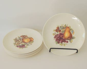 Set of 6 Vintage Plates, dessert plates, salad plates, fruit motif, small serving plates, g&p tennessee