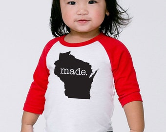 Wisconsin 'Roots' or 'Made' Baby Toddler Kids Poly Cotton 3/4 Sleeve Baseball Shirt - Baby Shirt