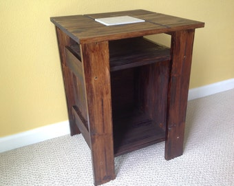 Marble Tile Nightstand / Living Room Side Table