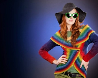Women Hand knitted Pinwheel Wool Rainbow cardigan