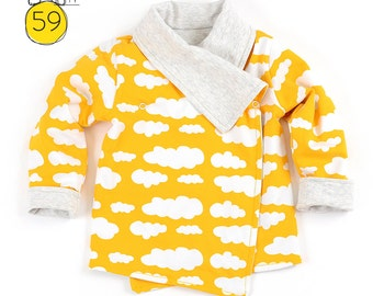 Reversible wrap cardigan sewing pattern // photo tutorial // instant download // Preemie-6T // #59