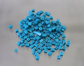 teal seed - bead tube - 4-5 mm 100 beads