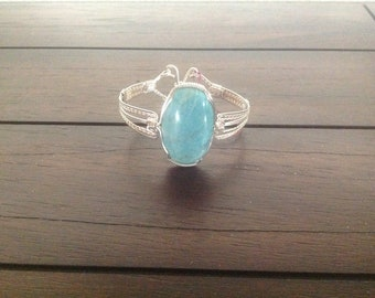 Handcrafted Wire Wrapped Bangle Bracelet with Amazonite Stone