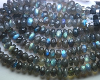 8 Inches Super Finest Natural BLUE FLASHY LABRADORITE Faceted Rondelles Size,9.5-10mm aprx