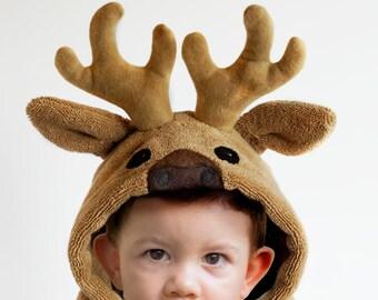 Hooded Towel / Deer Antlers / Camo Hooded Towel / Animal Hooded Bath Towel / Personalized / Baby Gift / Baby / Toddler