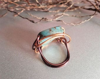 OOAK Turquoise bead copper wrapped ring made in US ~ size 9 ~ large marble look blue stone copper wrapped statement ring ~ men & women ring