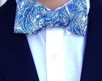 Blue Paisley Bow Tie