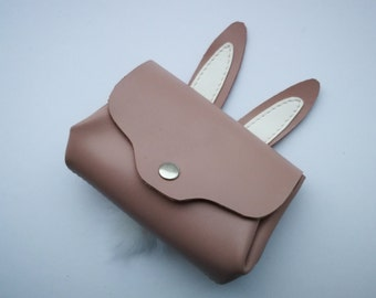Leather wallet,handcrafted bag,rabbit  clutch,party clutch,bridesmaid clutch,prom clutch ,embroidery bag,Unique clutch, funny bynny