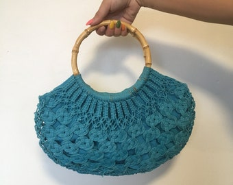 Vintage Turquoise Crotchet Purse