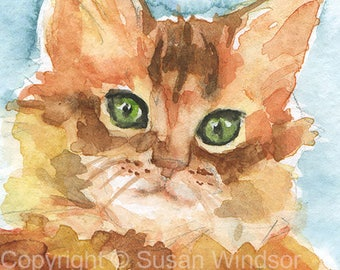 Orange Tabby Cat Watercolor Painting 4 x 6 - Giclee Print Reproduction - Cat Lover Art Print