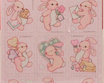 Vintage Gibson Valentine's Bunny Stickers. 3 Sealed Sheets