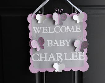 Butterfly Door Sign, Butterfly Welcome Sign, Butterfly Baby Showe, Birthday Party, Butterfly Party Decorations, You Pick The Colors