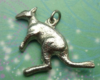 Vintage Sterling Silver Dangle Charm - Kangaroo Big