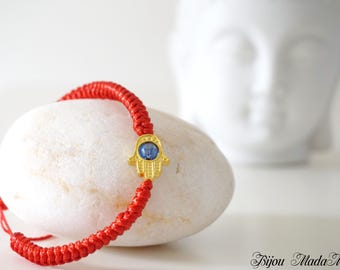 Hamsa hand protective red string bracelet for luck. Tibetan knot bracelet. Mothers day gift for her. Protective jewelry. Crystal bracelet