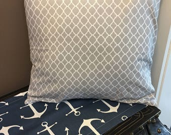Geometric Gray and White Envelope Pillow Cover