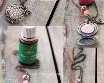 KIDS DIFFUSER necklace -  antiqued gold design with pink jewels and dragonfly or butterfly