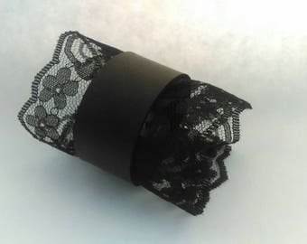 Leather Cuff with Lace