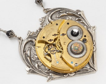 Steampunk Necklace, Heart Necklace with Vintage Waltham Gold Pocket Watch, Fire Opal, Black Crystal Beads on Silver Rope Chain, Jewelry Gift