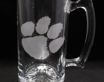 24 oz Glass Beer Mug Clemson
