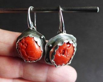 Hot Red Coral Earrings, Red Gemstone Earrings, Bezel Set Mediterranean Red Coral Earrings, Red and Silver Coral Earrings